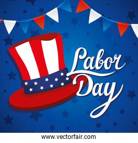 happy labor day holiday banner, flag national of united states with sam hat and garlands decoration