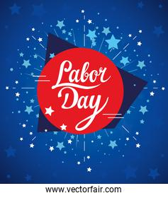 labor day holiday banner with stars decoration