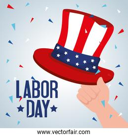 happy labor day holiday banner with hand and hat of sam