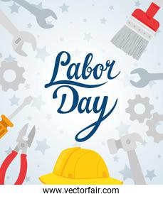 happy labor day holiday banner with helmet secure protection and tools construction