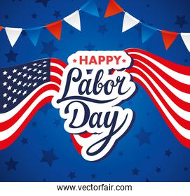 happy labor day holiday banner with united states national flag and garlands hanging