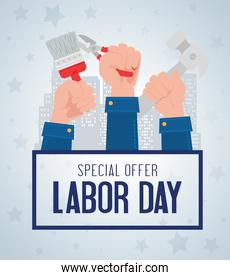 labor day sale promotion advertising banner, with hands and tools construction