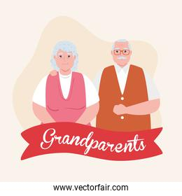 happy grand parents day with cute older couple and ribbon decoration
