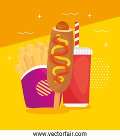 fast food, lunch or meal, corn dog with french fries and bottle beverage