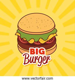 fast food, lunch or meal, with big burger label