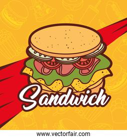 fast food, lunch or meal, delicious sandwich