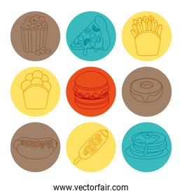 set of delicious fast food