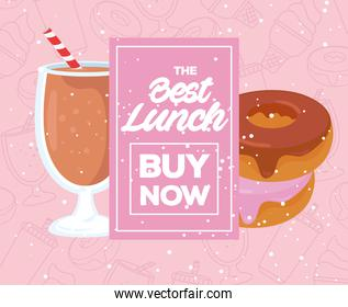 food poster, the best lunch, with buy now lettering, donuts with beverage