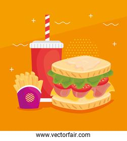 fast food, delicious sandwich with french fries and beverage bottle