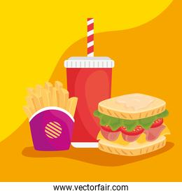 fast food, delicious sandwich with french fries and bottle beverage