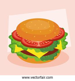 fast food, lunch or meal, with big burger