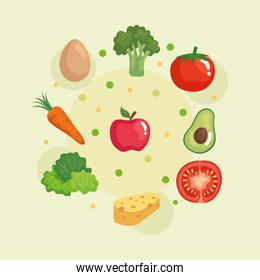 set of fresh and healthy vegetables