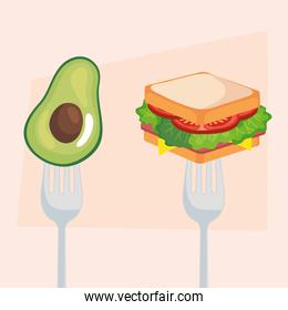 fast food and vegetable, sandwich and avocado in fork