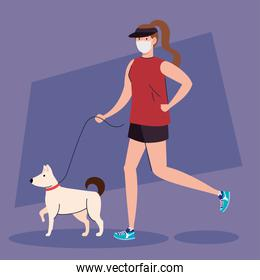 woman in sportswear wearing medical mask, with dog, prevention coronavirus covid 19