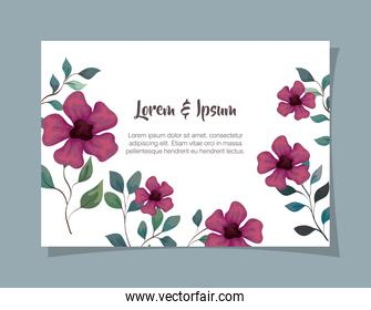 greeting card with flowers purple color, wedding invitation with flowers purple color with branches and leaves decoration