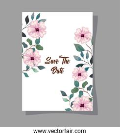 greeting card with flowers pink color, wedding invitation with flowers pink color with branches and leaves decoration