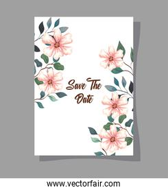 greeting card with flowers, wedding invitation with flowers, with branches and leaves decoration