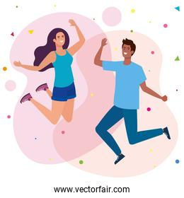 happy couple, woman and man jumping celebrate, celebrating holiday