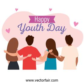 happy youth day, teen people group, together for celebration youth day