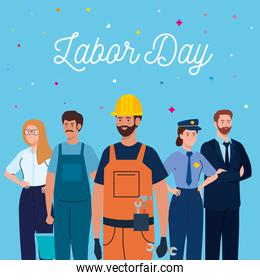 labor day poster with people group different occupation