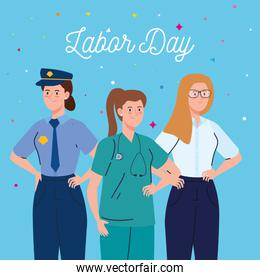 labor day poster, with women group different occupation