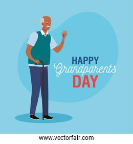 happy grand parents day with cute grandfather afro