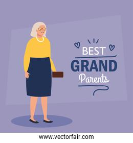happy grand parents day, with cute grandmother, and lettering decoration of best grand parents