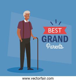 happy grand parents day, with cute grandfather afro and lettering decoration of best grand parents