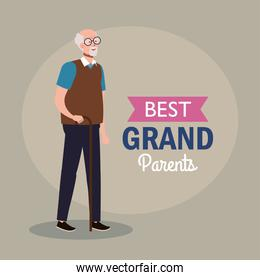 happy grand parents day, with cute grandfather and lettering decoration