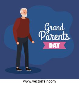 happy grand parents day, with cute grandfather and lettering decoration of best grand parents