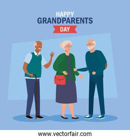 happy grand parents day cartel  with cute older people