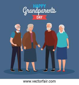 happy grand parents day with cute older couples