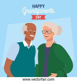 happy grand parents day with cute older couple