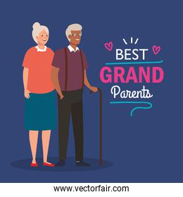 happy grand parents day with cute older couple and lettering decoration of best grand parents