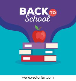back to school banner with pile of books and apple fruit