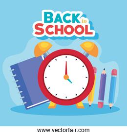 back to school banner, alarm clock with notebook and pencils