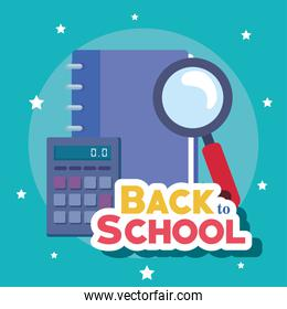 back to school banner, calculator with magnifying glass and notebook
