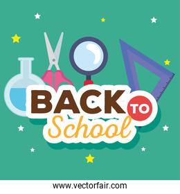 back to school banner, magnifying glass and supplies education