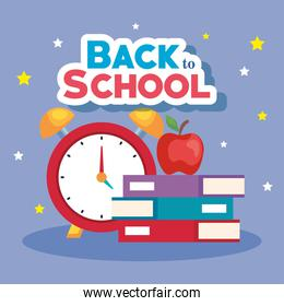 back to school banner, alarm clock with books and apple fruit