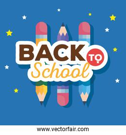 back to school banner with pencils and stars decoration