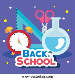 back to school banner with alarm clock and supplies education