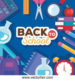 back to school banner with set of supplies education