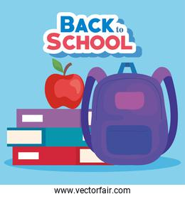 back to school banner with backpack and supplies education