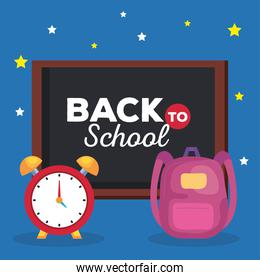back to school banner, alarm clock with chalkboard and backpack