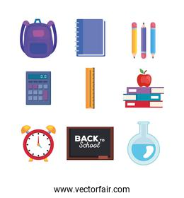 set of school and education supplies