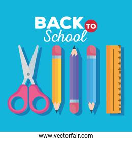 back to school banner, scissors with pencils and ruler