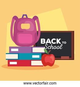 back to school banner, chalkboard with apple and supplies