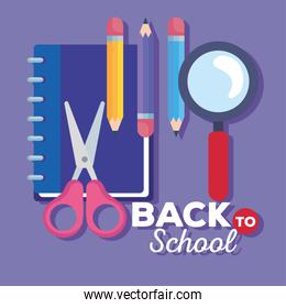 back to school banner with magnifying glass and supplies education
