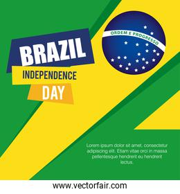banner of brazil independence celebration, with icons flag emblem decoration