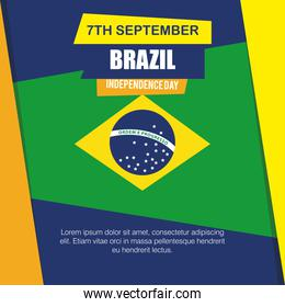 7 september, banner of brazil independence celebration, flag emblem decoration